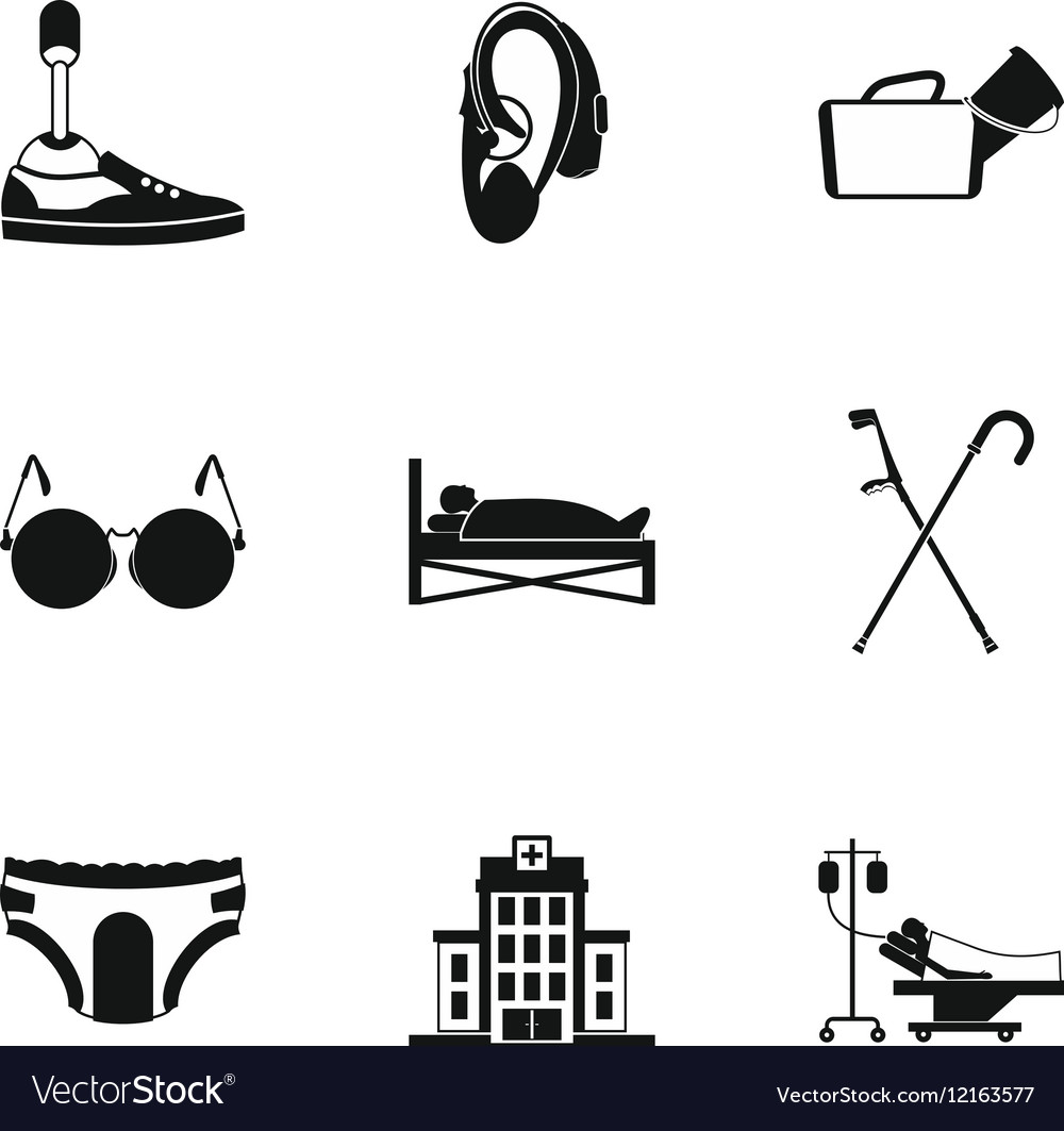 Disability icons set simple style vector image