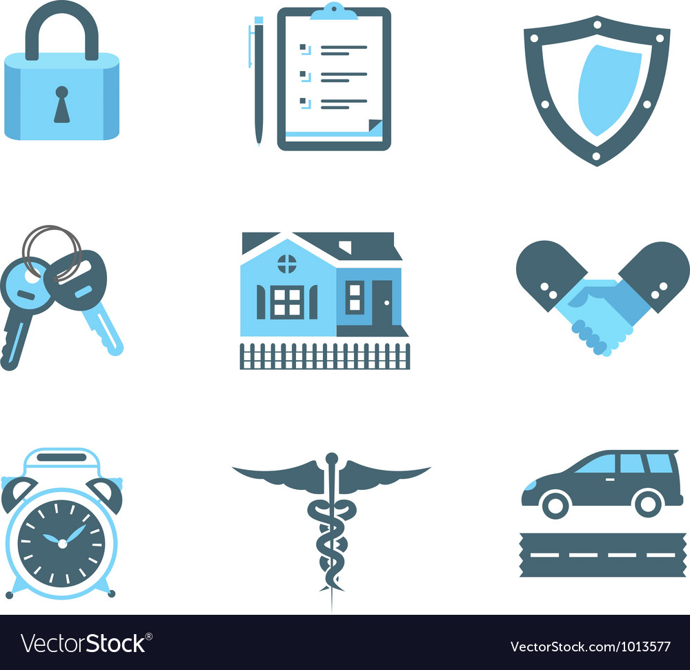Handshake insurance icons vector image
