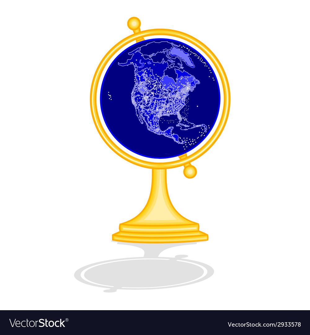 Globus North America at night vector image