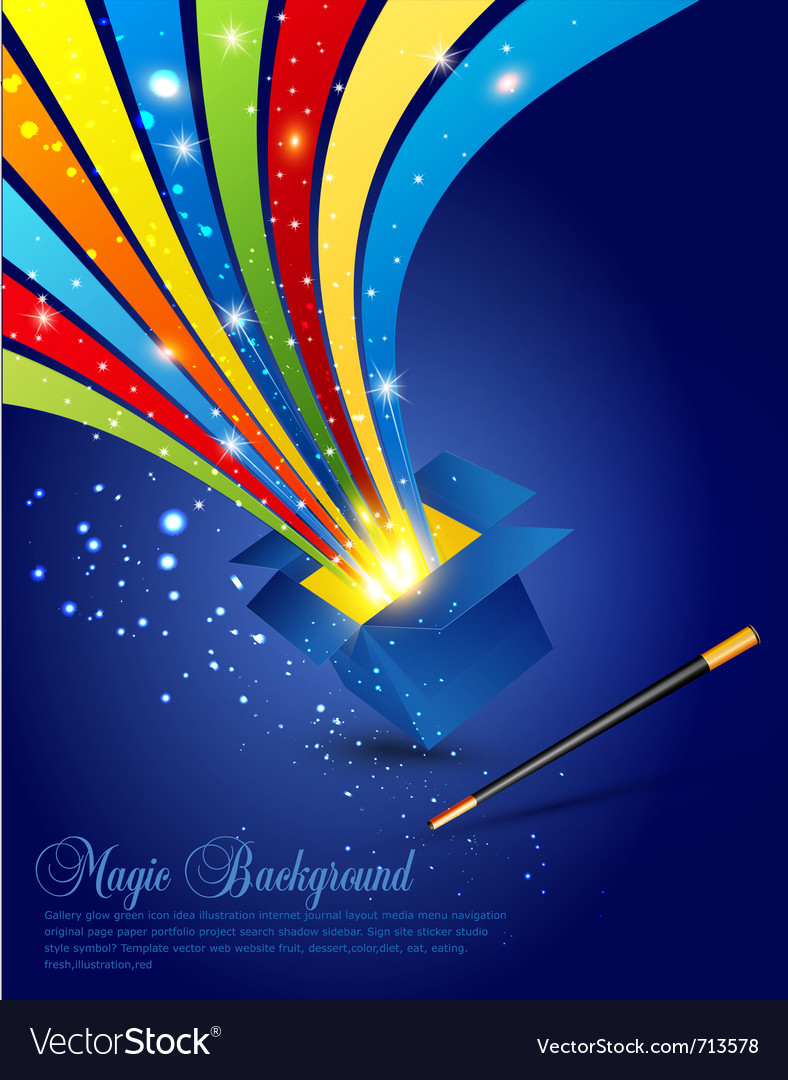 Magic wand and box vector image
