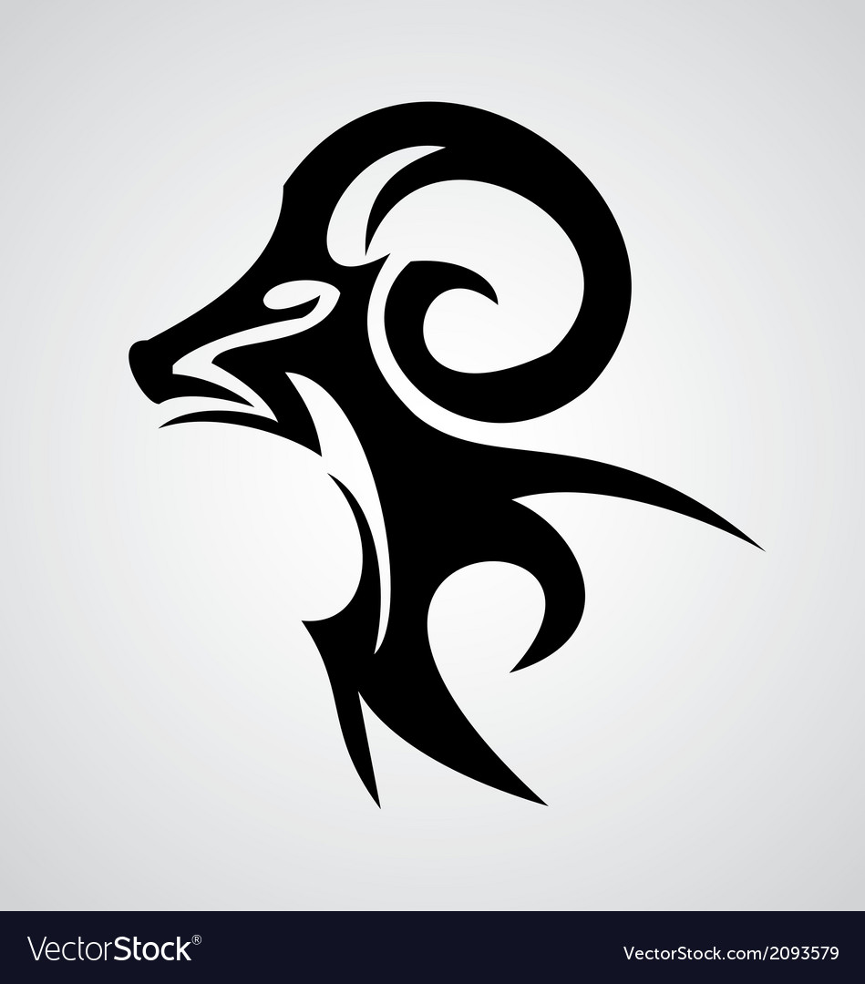 Aries Sign Tribal vector image