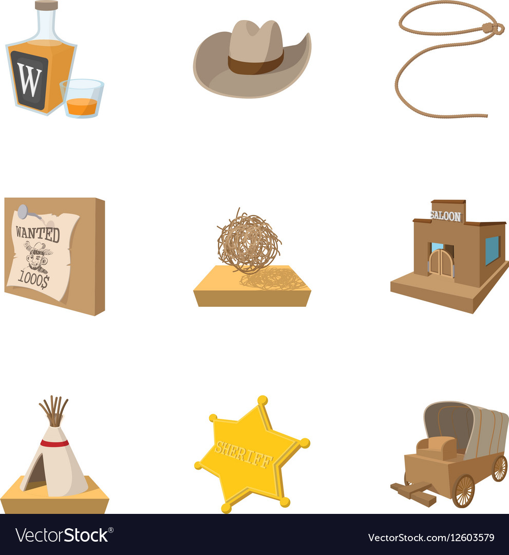 Wild West of USA icons set cartoon style vector image