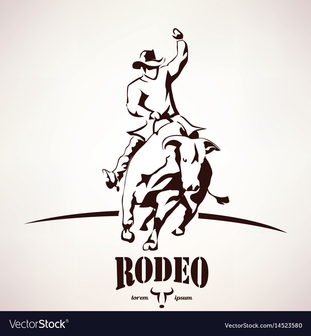Bull rodeo symbol stylized silhouette vector image