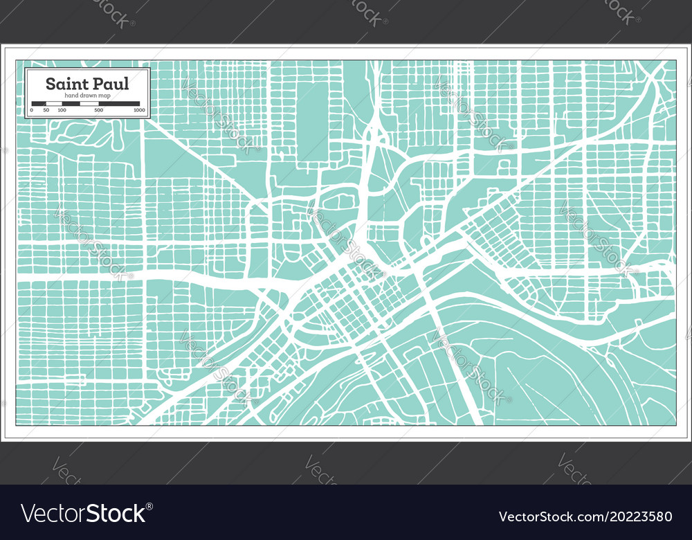 Saint paul minnesota usa city map in retro style Vector Image