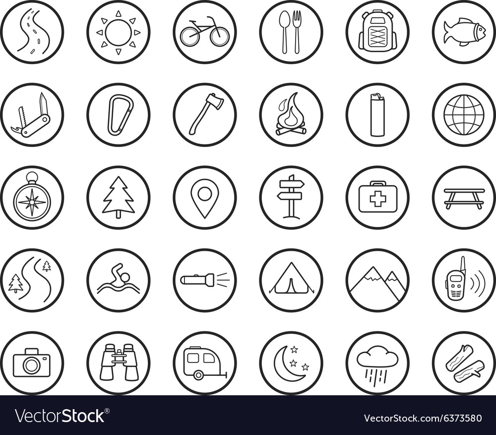 Tourism camping linear icons set vector image