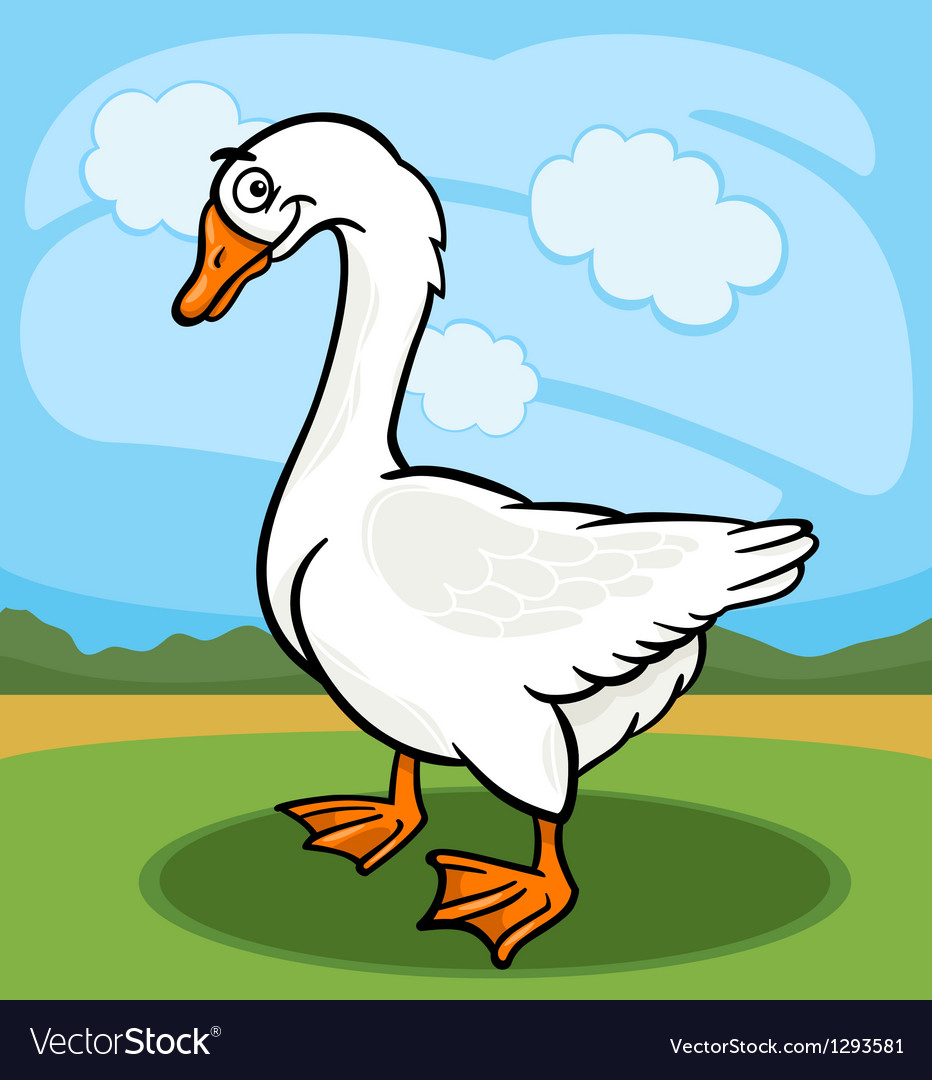 Goose bird farm animal cartoon vector image