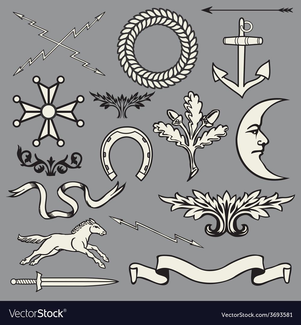 Heraldic symbols and elements vector image
