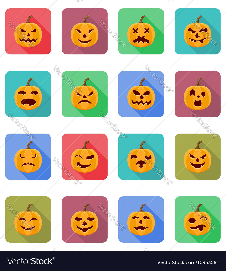 Pumpkins for halloween flat icons 20 vector image