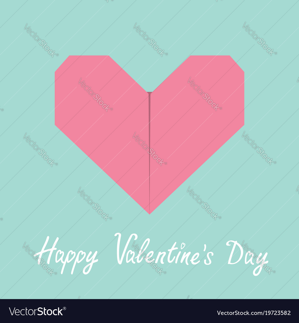 Happy valentines day sign symbol pink origami vector image jeuxipadfo Gallery