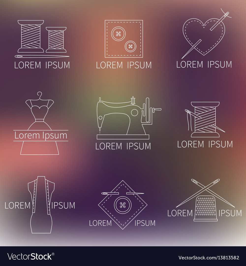 Set of sewing tailoring or dressmaking icons on vector image