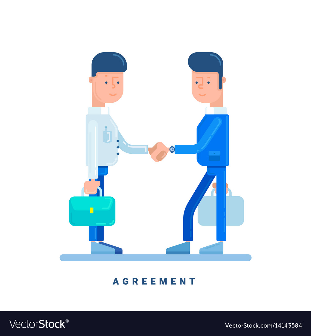 Two businessmen conclude an agreement business vector image