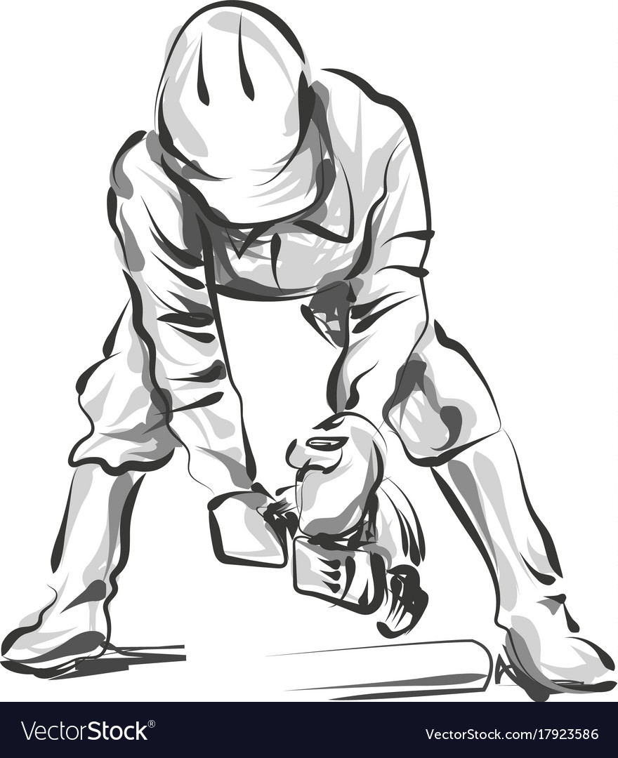 Line Sketch Construction Worker Vector Image