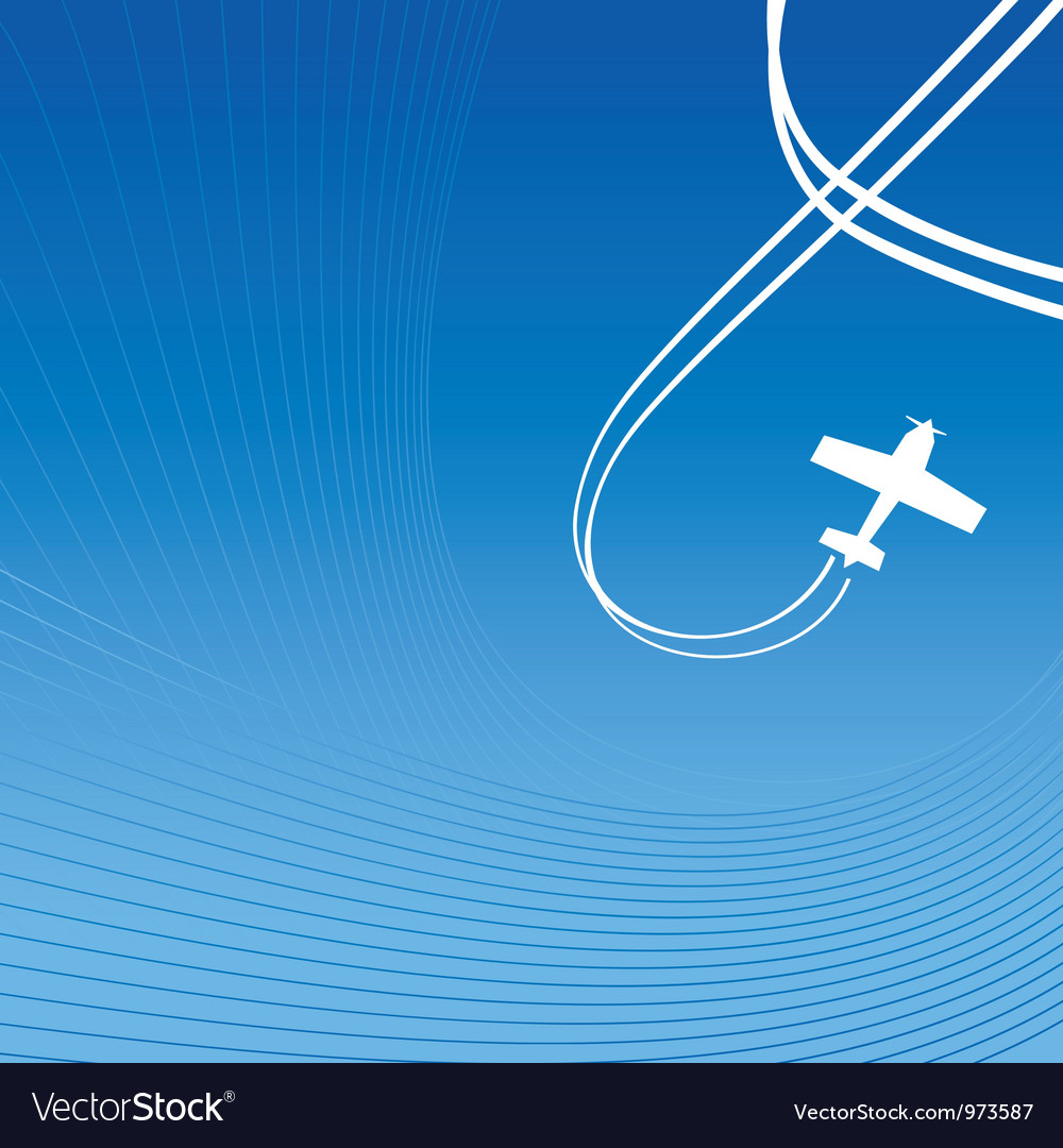 Plane over blue vector image