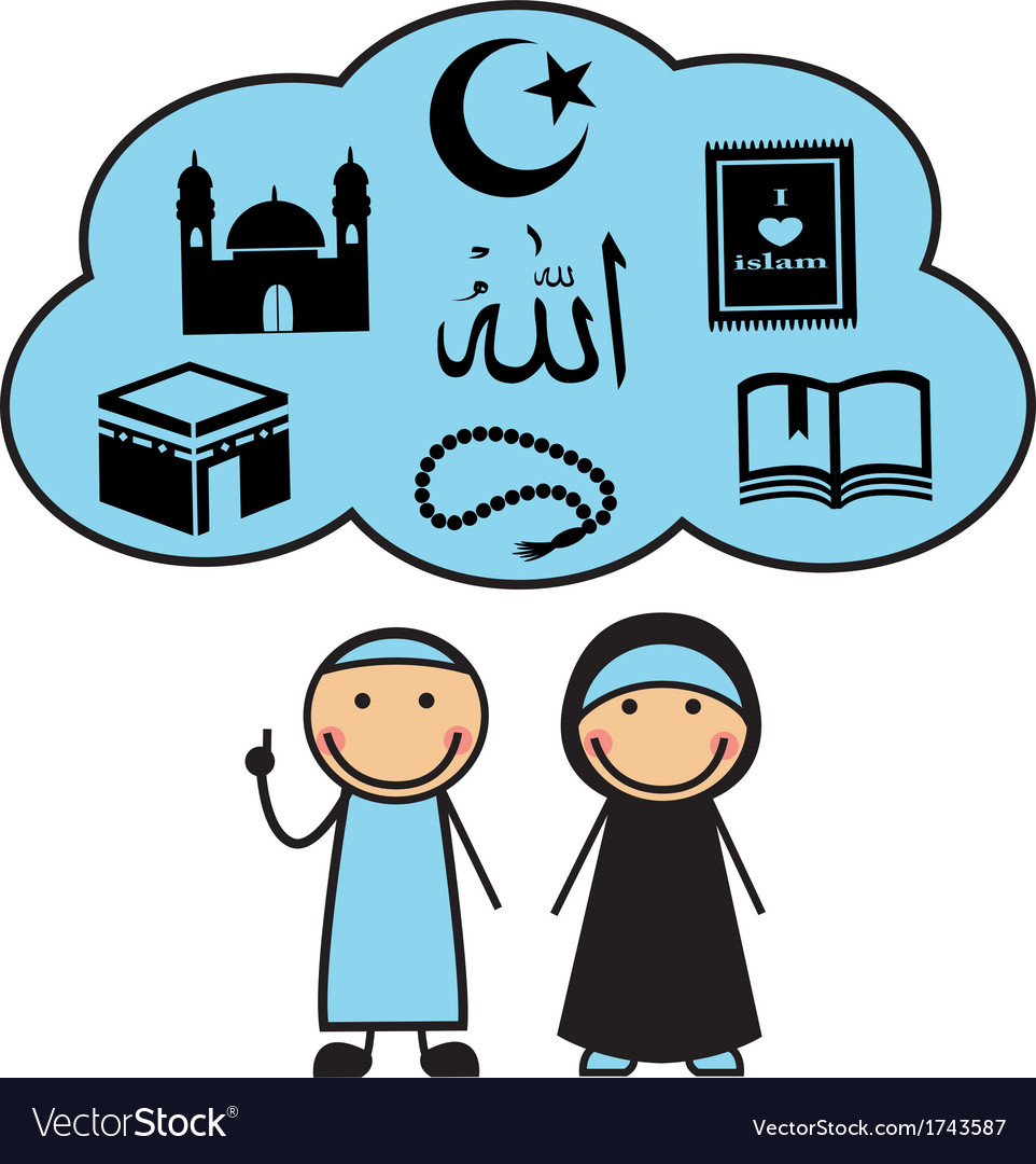Cartoon Muslims and Muslim symbols vector image