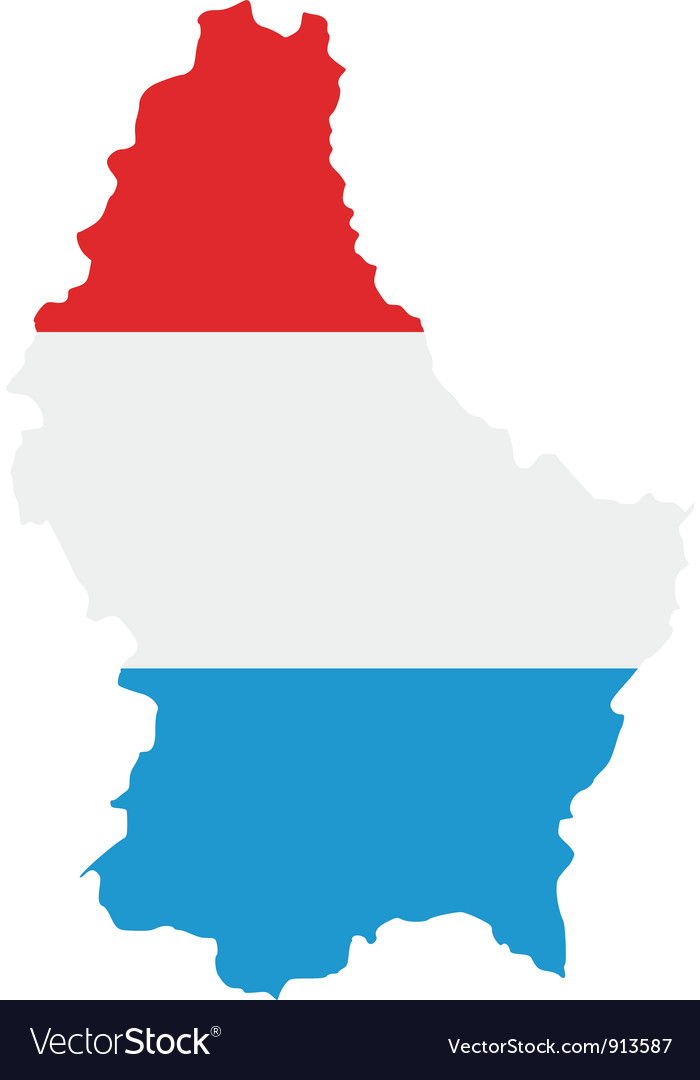 Map and flag of Luxembourg Royalty Free Vector Image