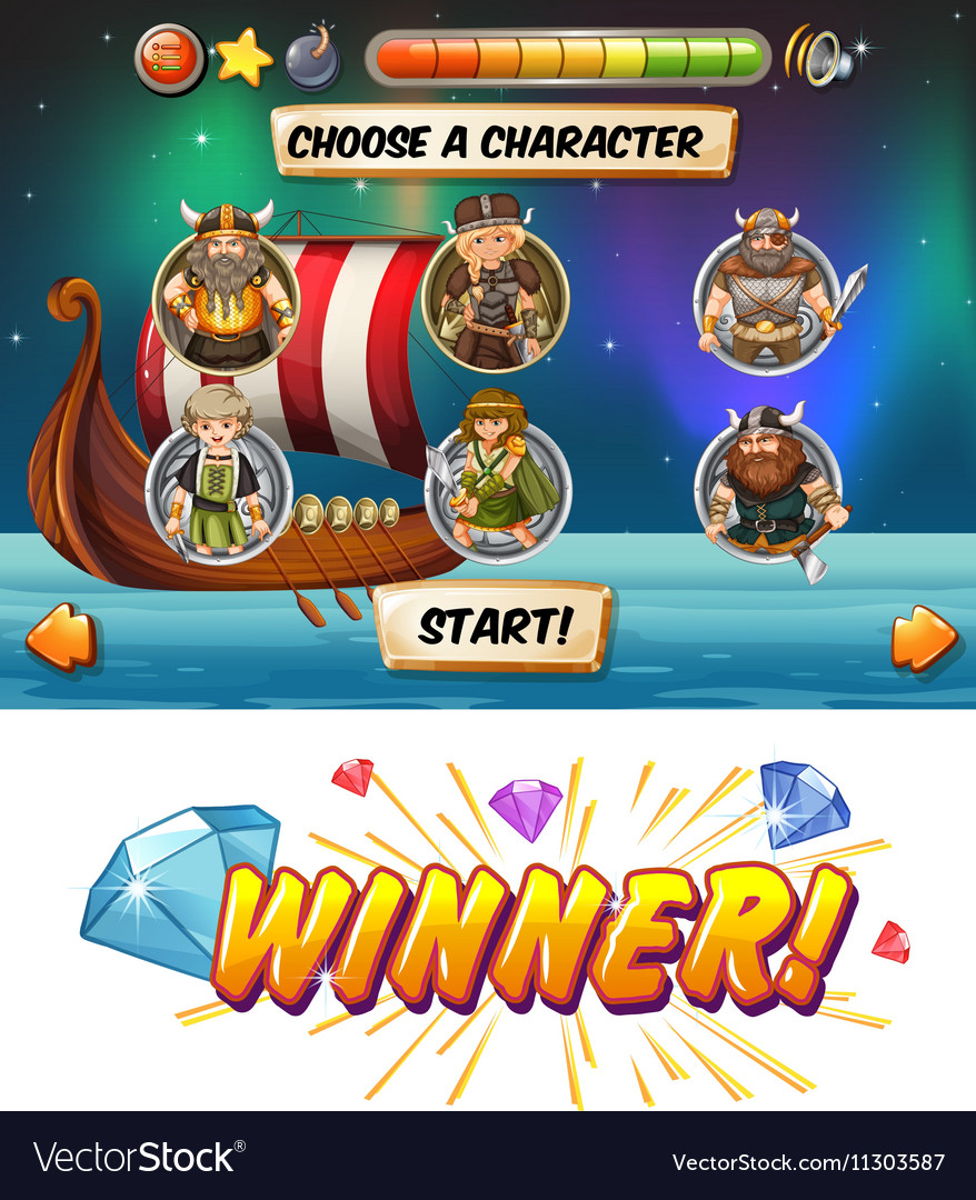 Slot game template with viking characters vector image