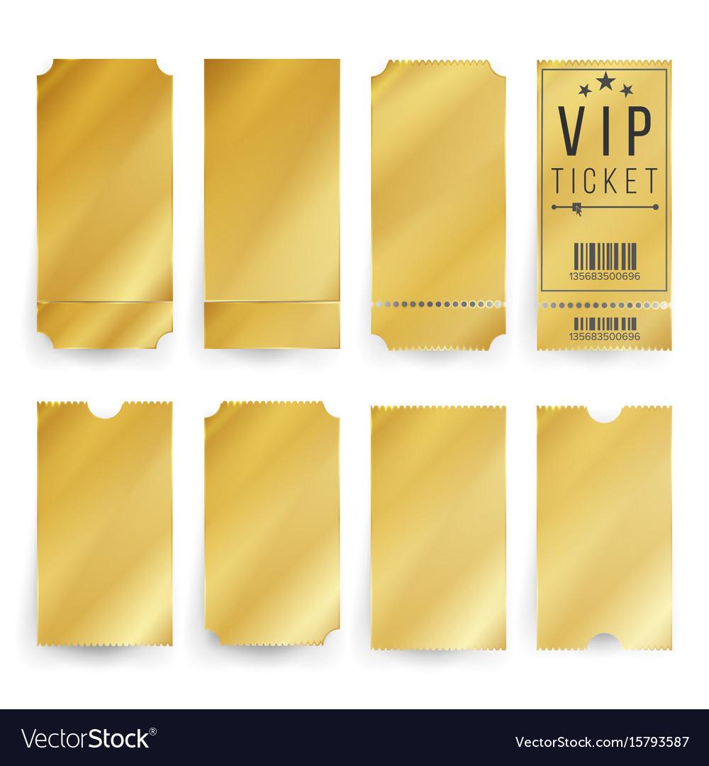Vip ticket template empty golden tickets Vector Image