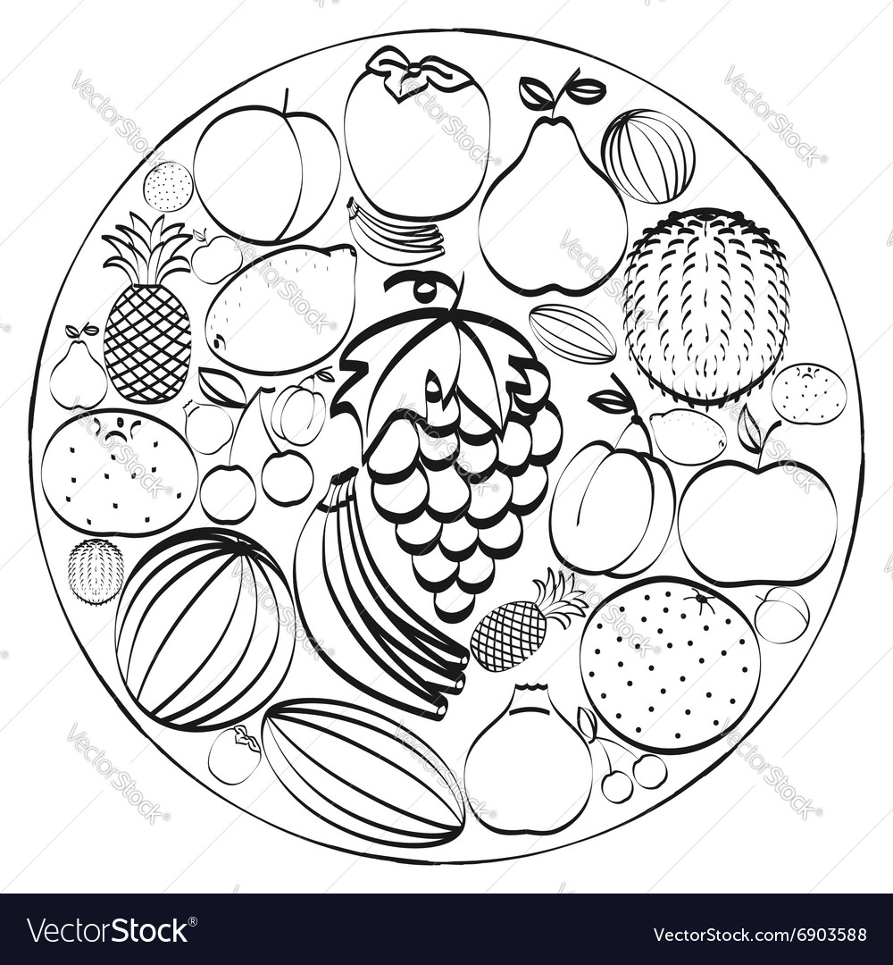 A set of hand-drawn icons fruits inscribed in a vector image