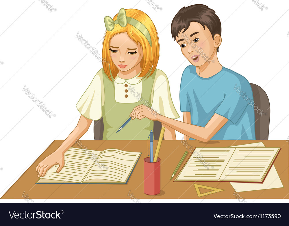 Girl and boy in a classroom vector image