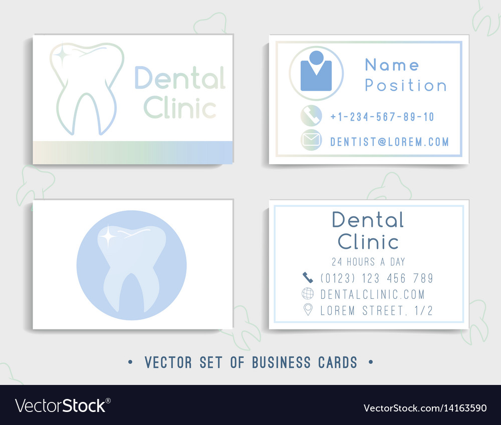dental business card template design royalty free vector. Black Bedroom Furniture Sets. Home Design Ideas