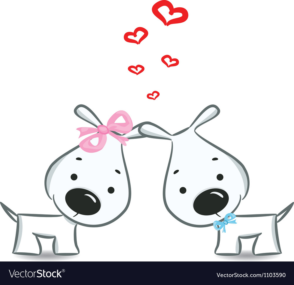 Dogs with hearts vector image