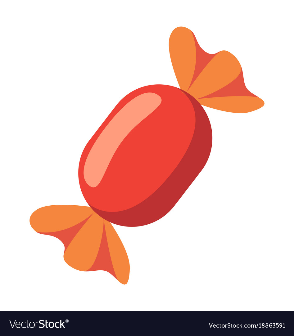 Closeup of red candy icon on vector image