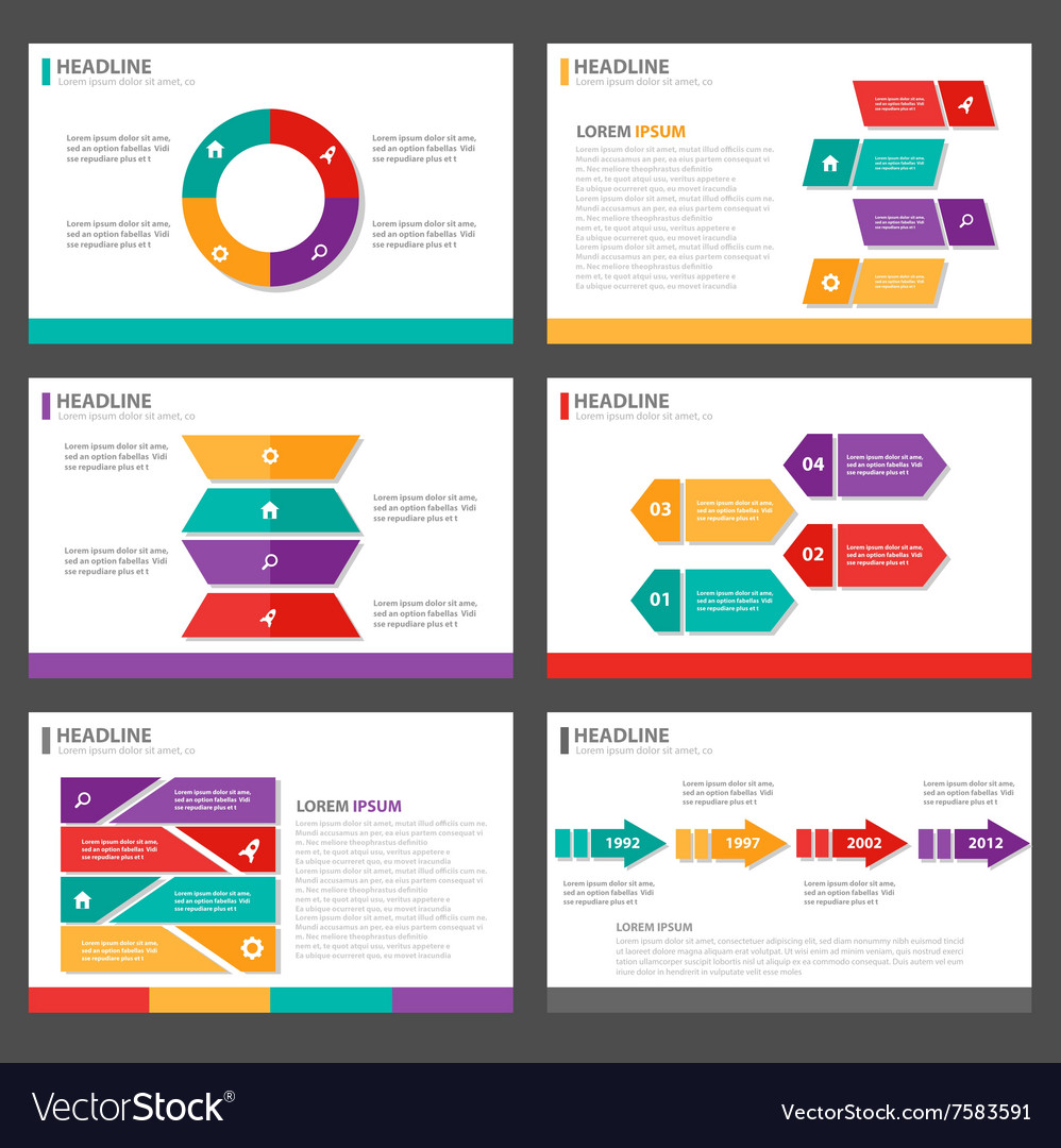 Colorful presentation templates Infographic set Vector Image