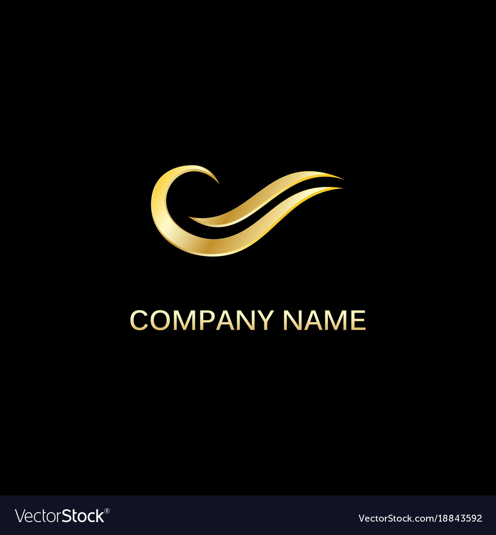 Gold river abstract wave logo vector image