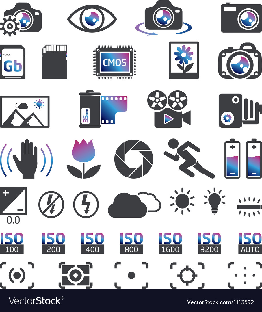 Photocam display icons vector image