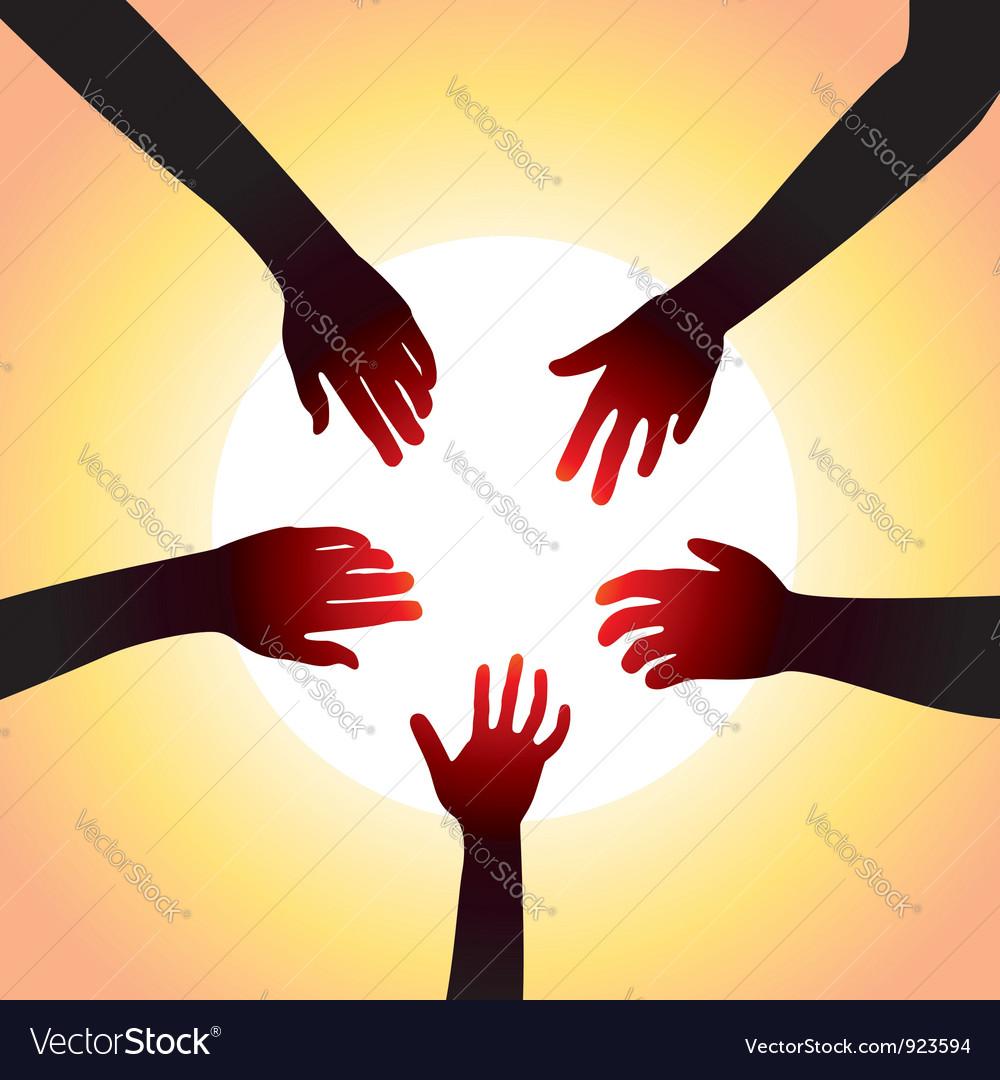 Five hands around sun vector image