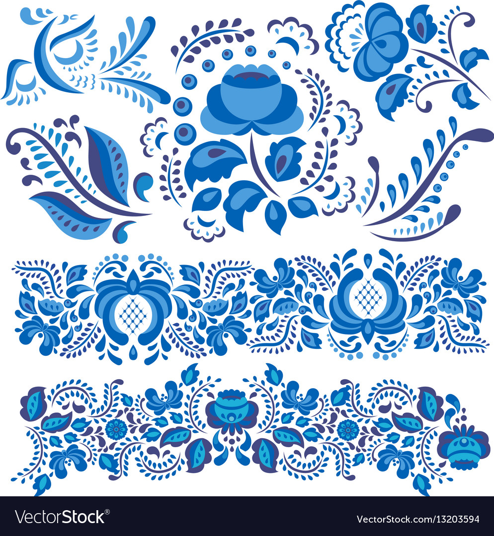 With gzhel floral motif in vector image