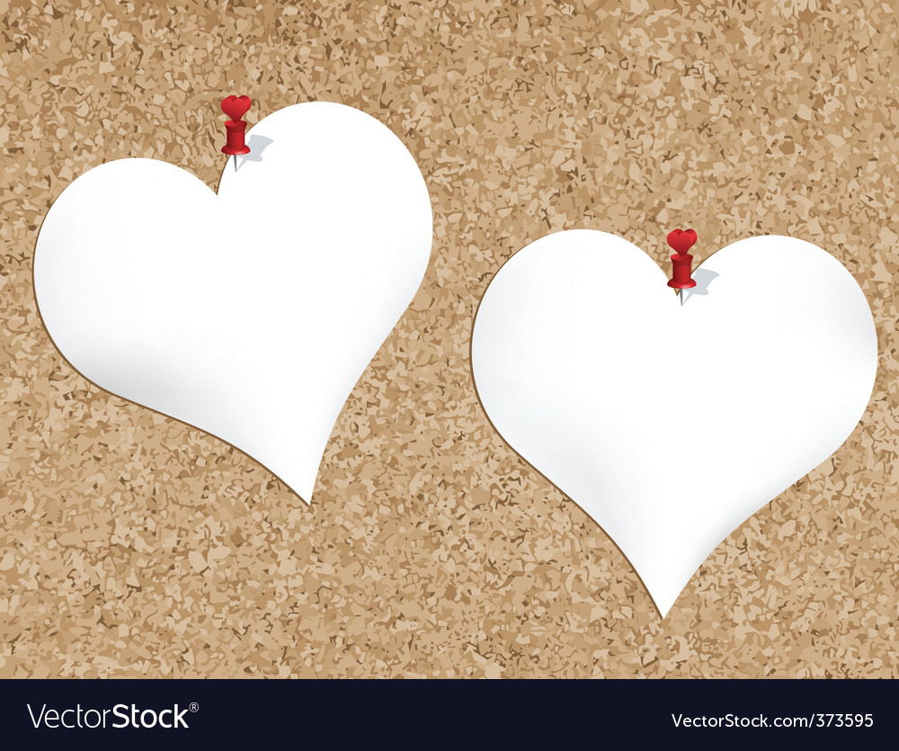 Cork bulletin board with heart vector image