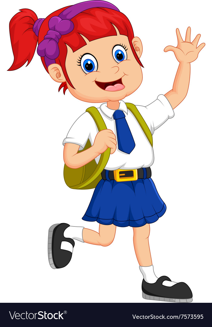 Cute girl in uniform waving hand vector image