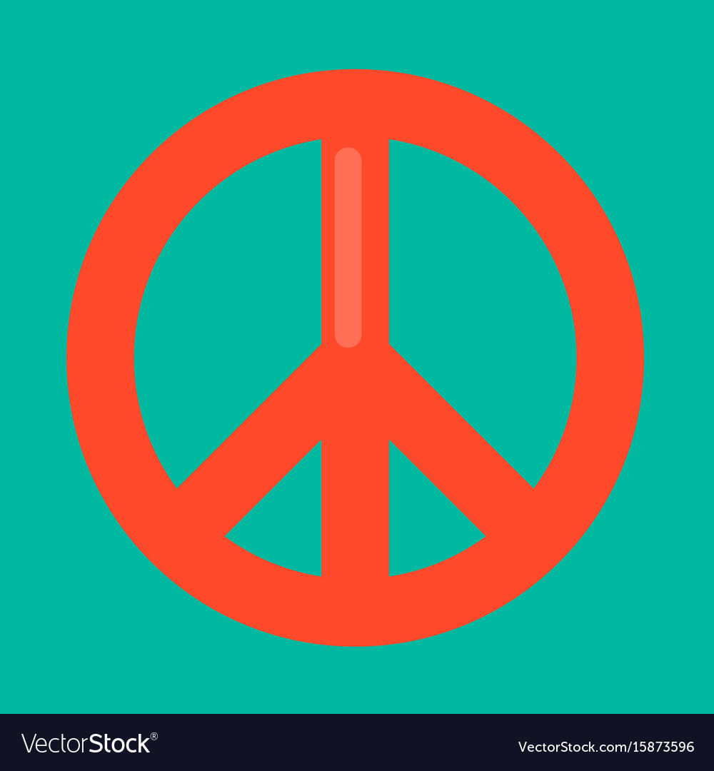 Peace sign in red color isolated on green vector image