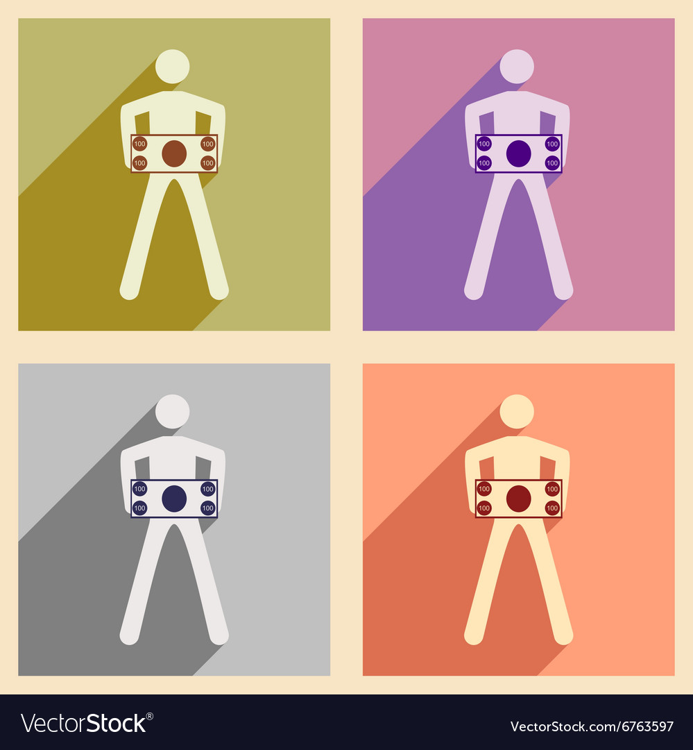 Modern collection flat icons with shadow People