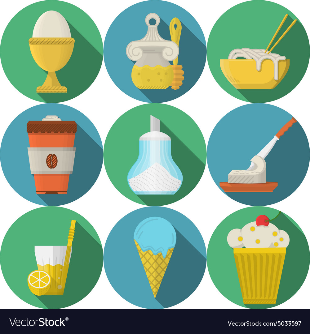 Daily products flat colored icons vector image