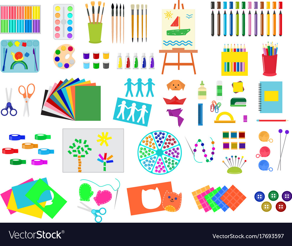Kids creativity creation symbols artistic objects vector image