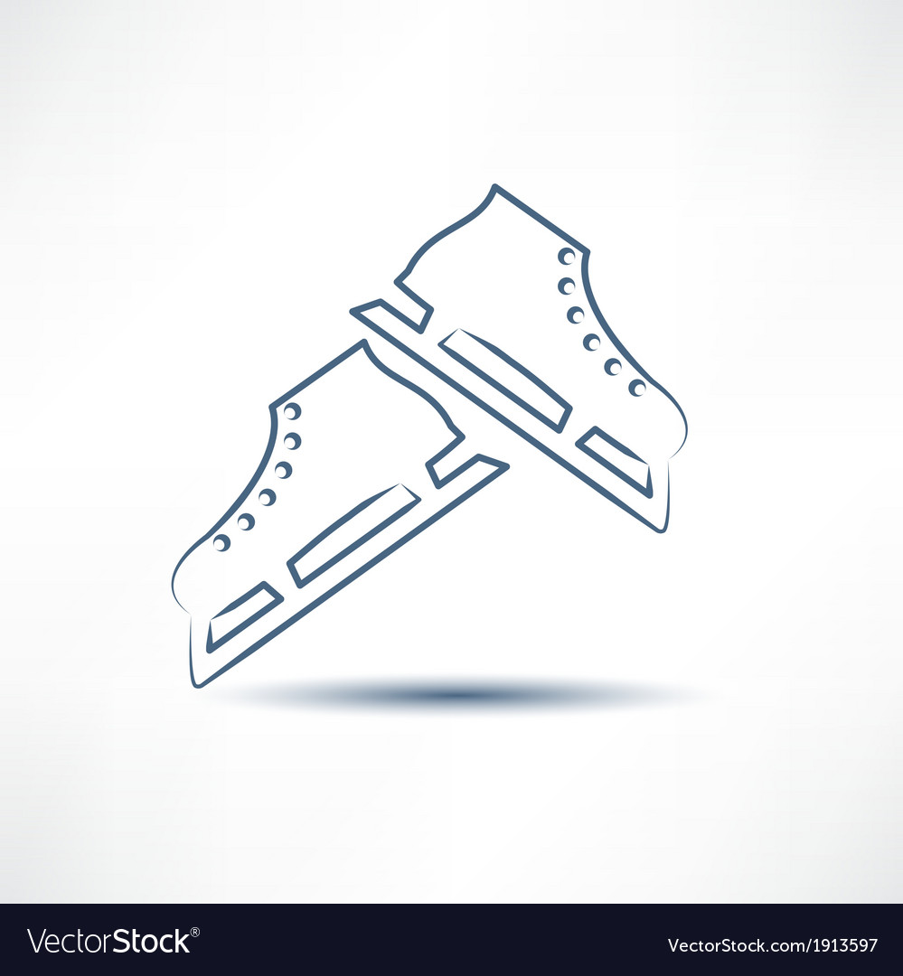 Two white skates vector image