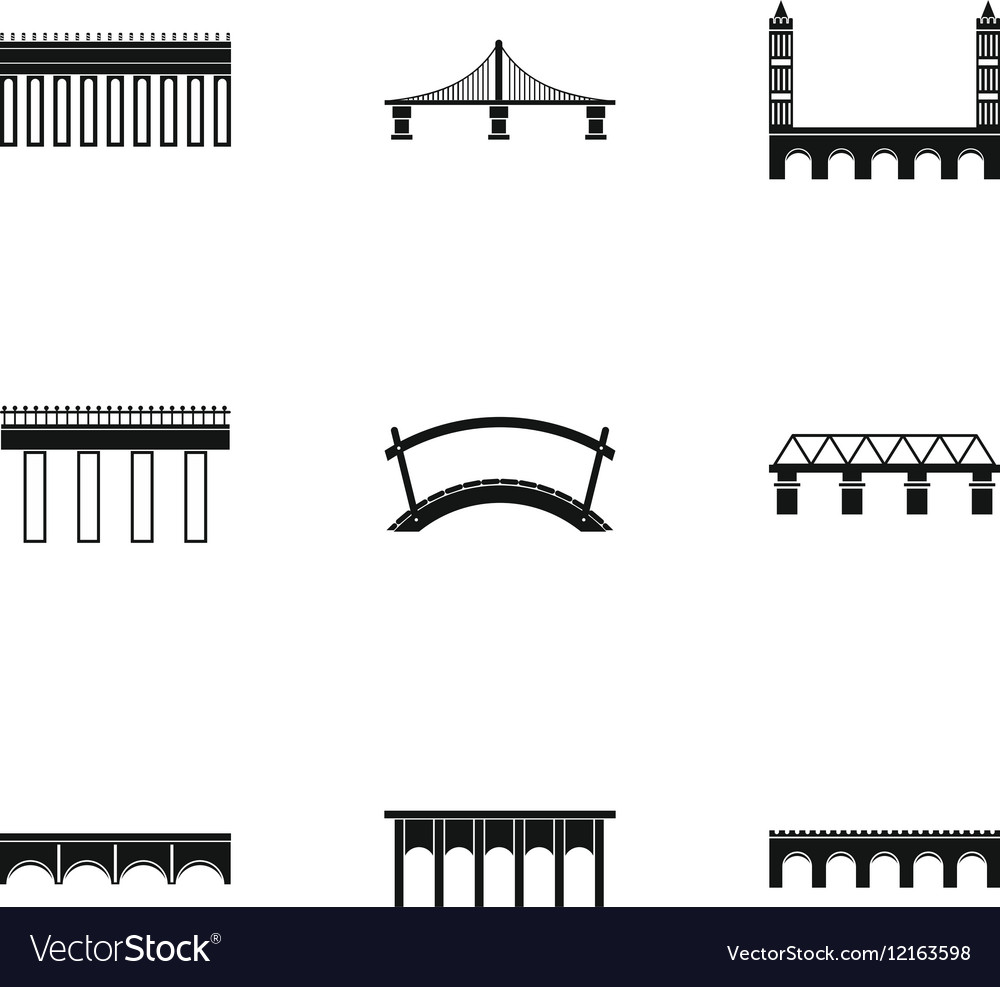 Crossing river icons set simple style vector image