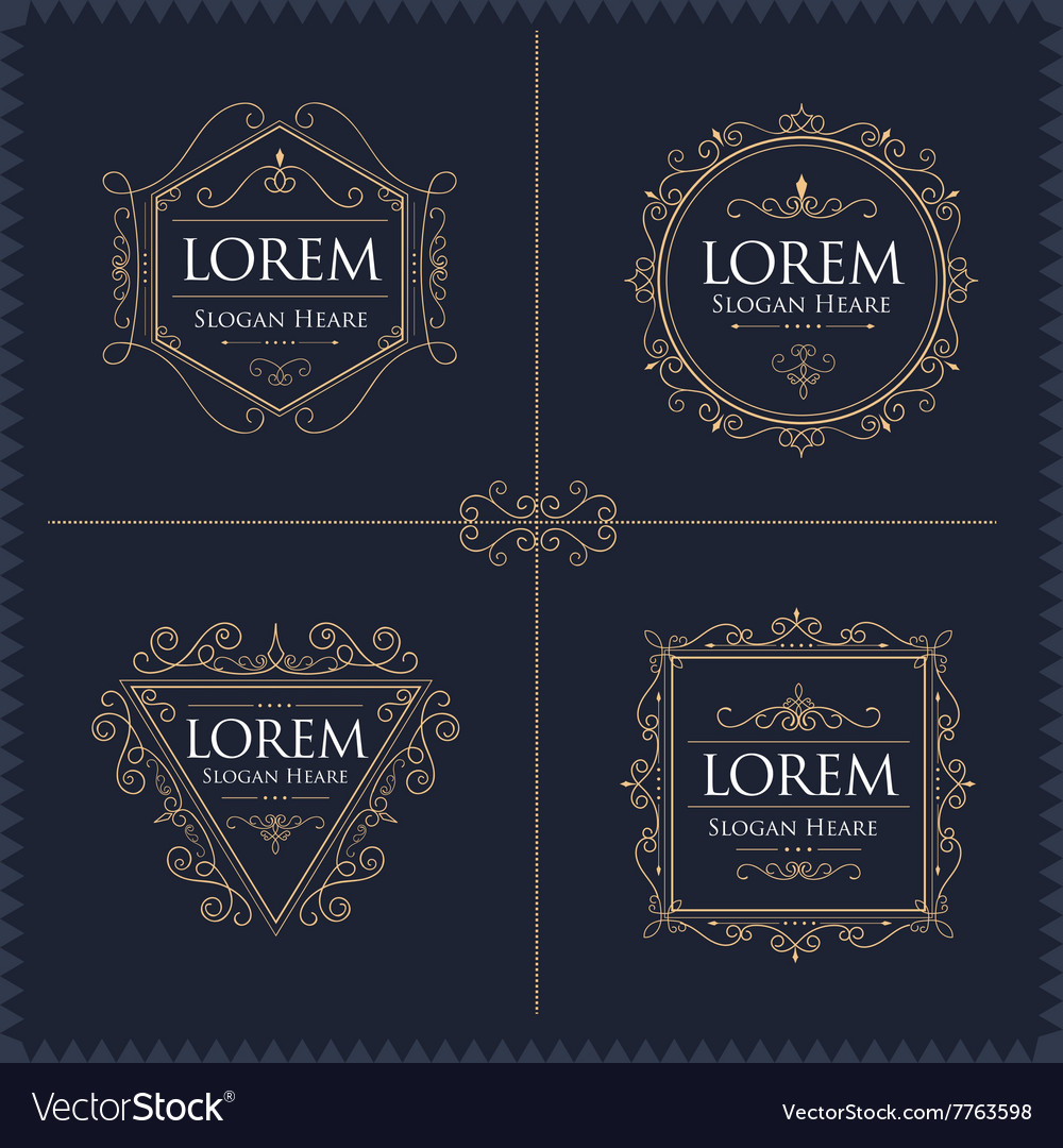 Luxury Logos Set template flourishes calligraphic vector image