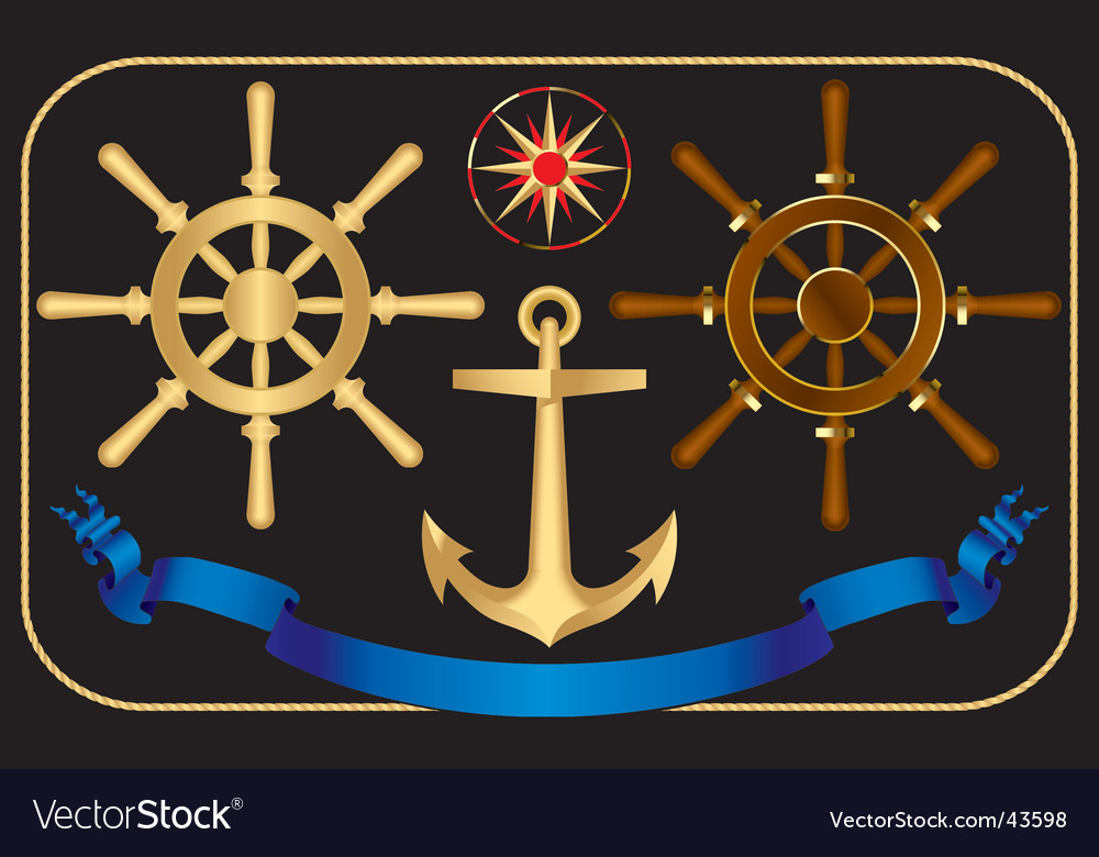 Nautical steering-wheels vector image