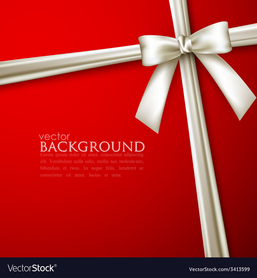 Elegant red background with white bow vector image