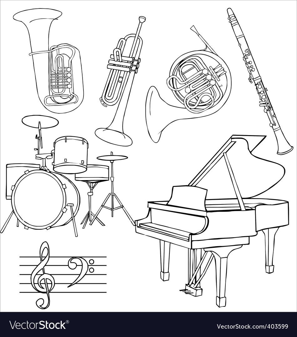 Jazz music instruments vector image