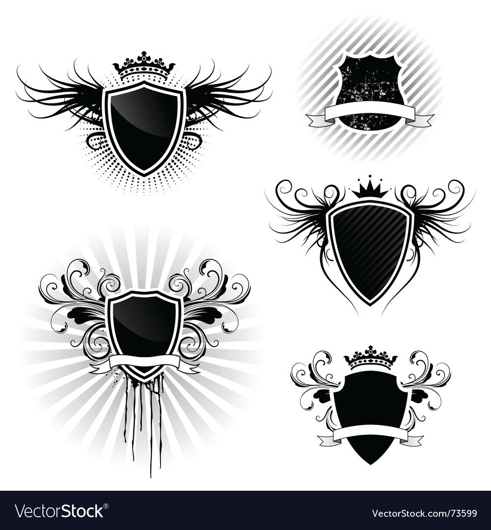 Shield designs set vector image