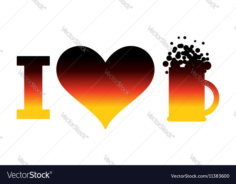 I love beer logo for Oktoberfest German flag Sign vector image