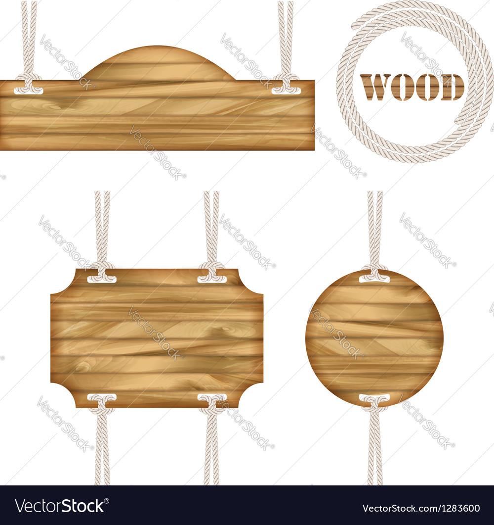 Wood frames set free vector - Wood Frame Rope Design Vector Image