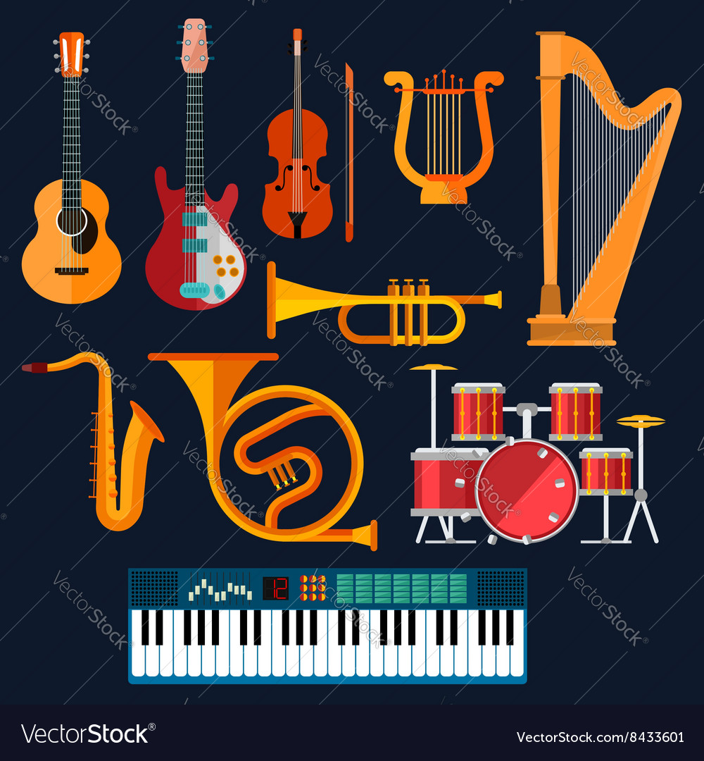 Acoustic and electric musical instruments icons vector image