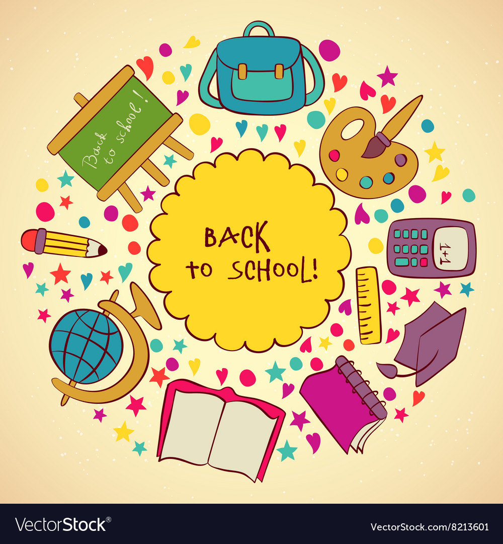 Back to School and Looking Design Layout vector image