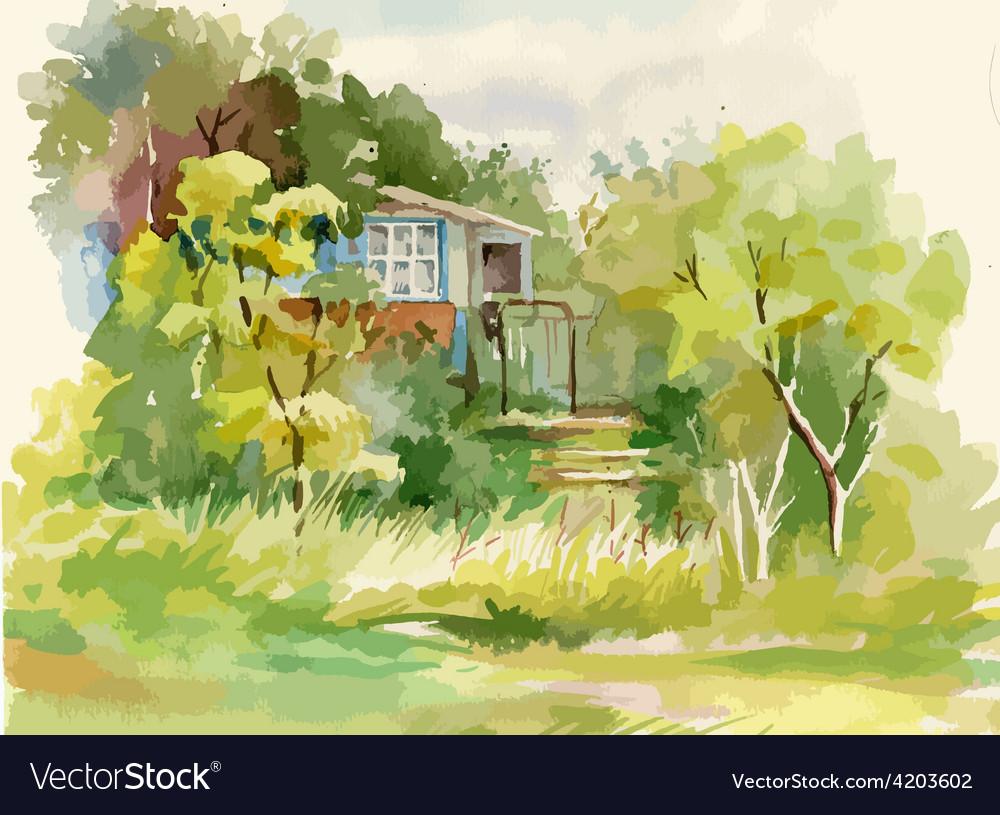 Artistic landscape design Royalty Free Vector Image
