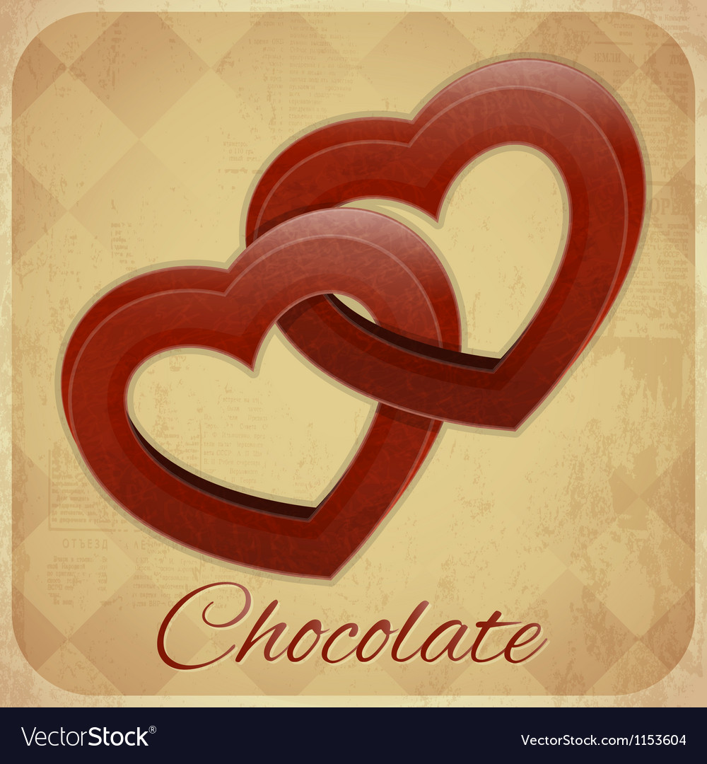 Retro Card with Chocolate Hearts Vector Image